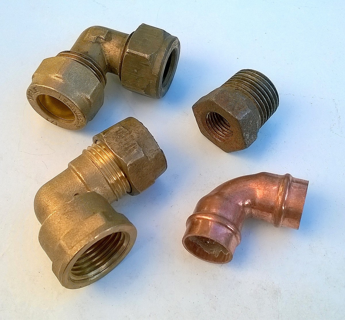 Using plumbing fittings joining pvc pex and copper pipe