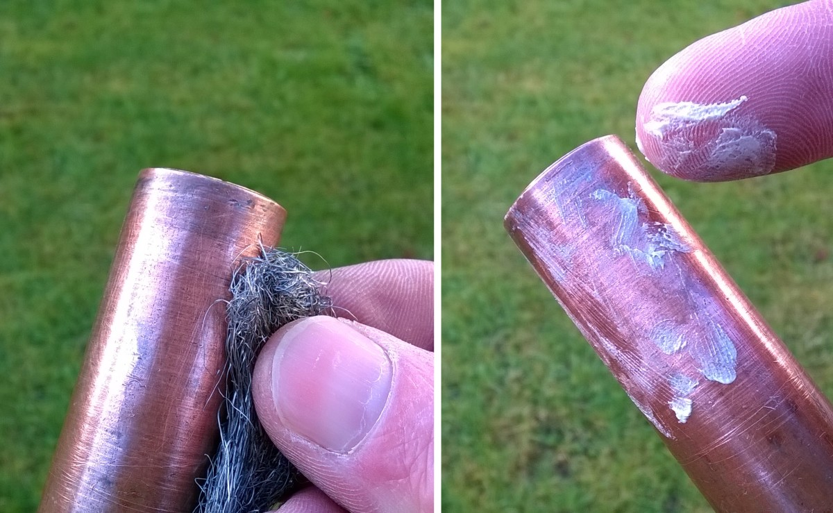 Clean the pipe and inside of the fitting with wire wool and coat with flux