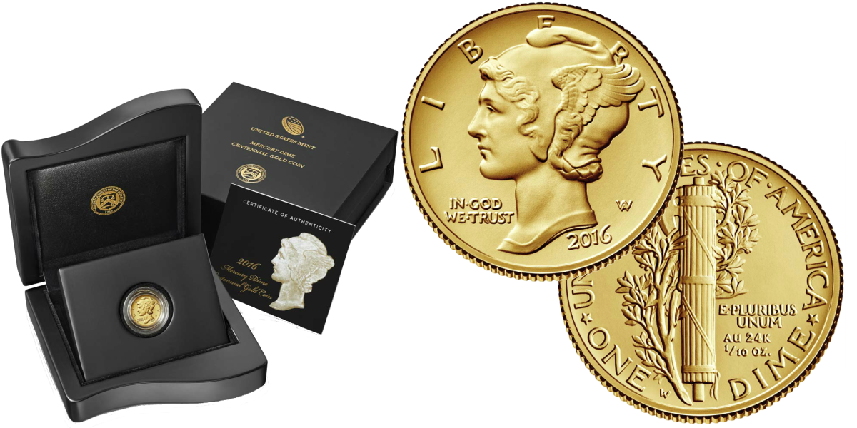 2016-W Gold Mercury dime and the mint issued box and certificate.