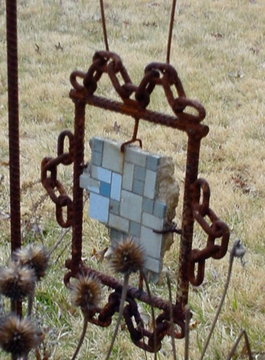 Art made of salvage building materials