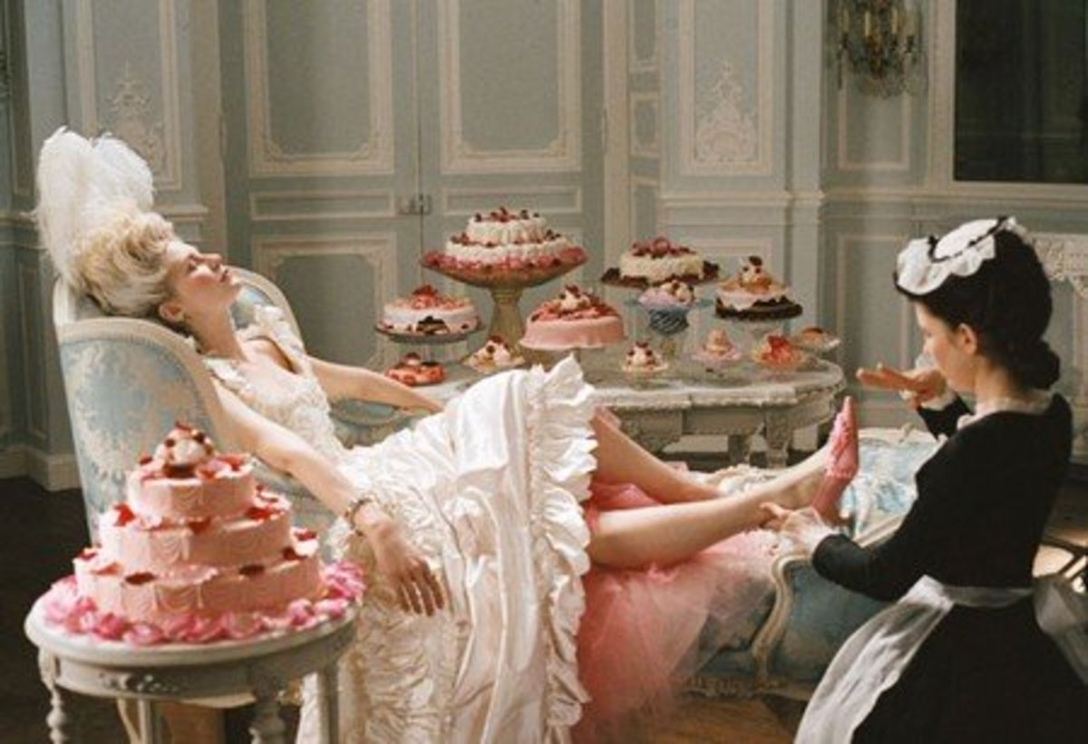 Marie Antoinette in her boudoir from the film Marie Antoinette by Sofia Coppola.