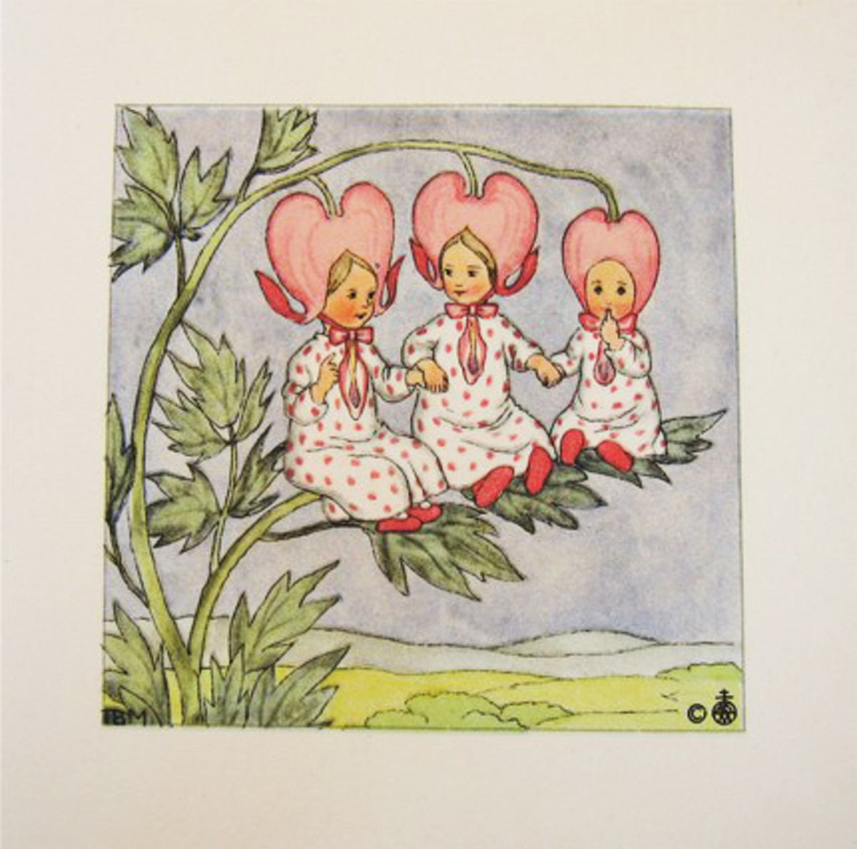 This vintage card illustrates the popularity of Bleeding Heart in the old days.(http://vintageholidaycrafts.com/)