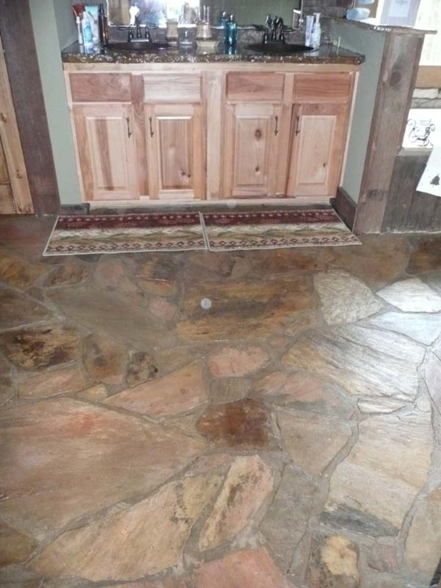 A rustic slate floor.
