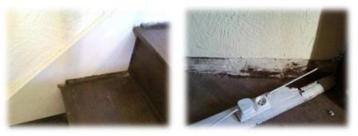 Above left, staircase subsidence caused by deterioration of the supporting floorboards and to the right, a rotten skirting board.