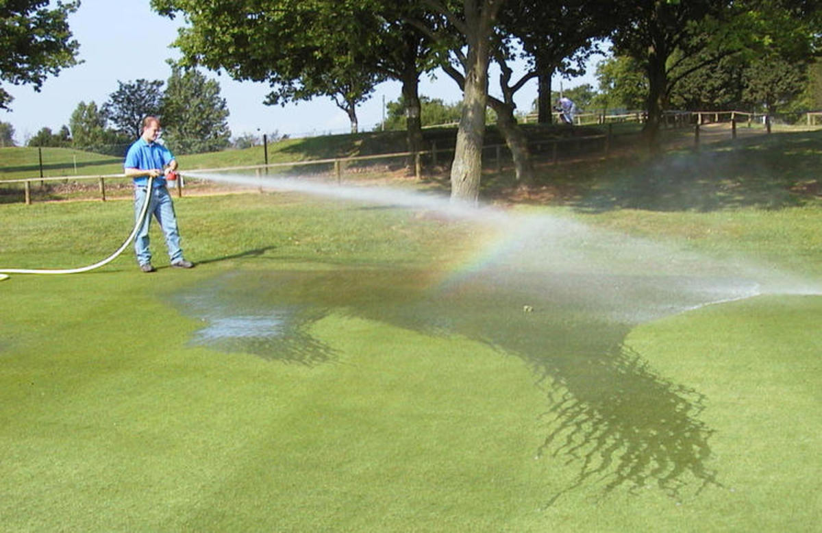 Liquid seaweed fertilizer works great on lawns or golf courses.