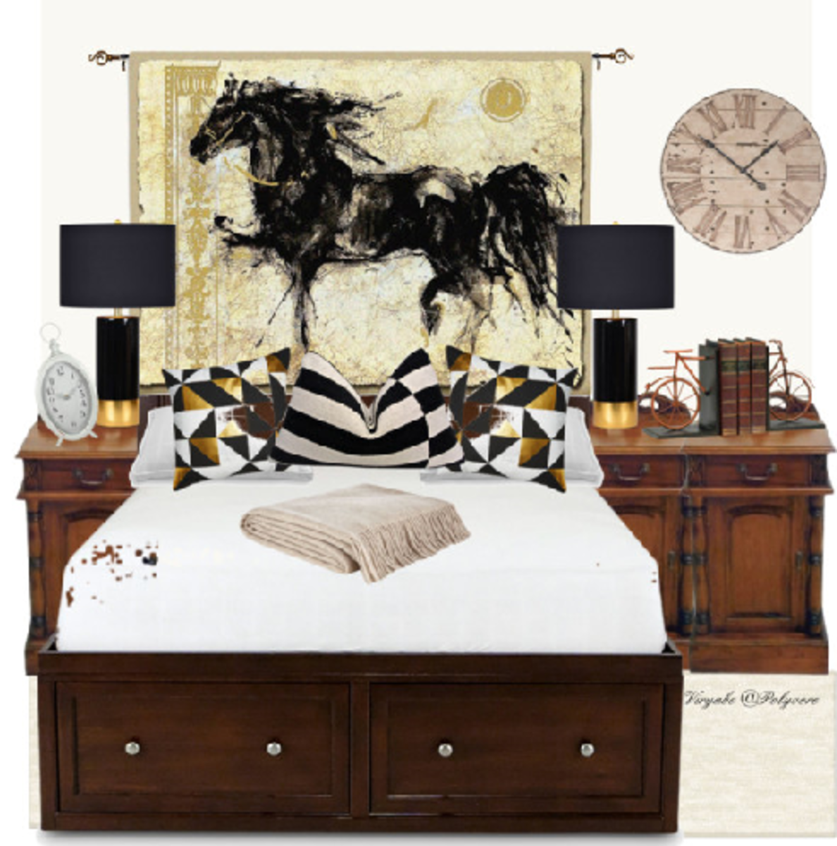 A creative way to hang a standalone tapestry art, making it serve not only as a piece of decoration, but also as a faux-headboard. A one-piece wall art must have at least one of its stronger colours repeated in the interior decor of the room.