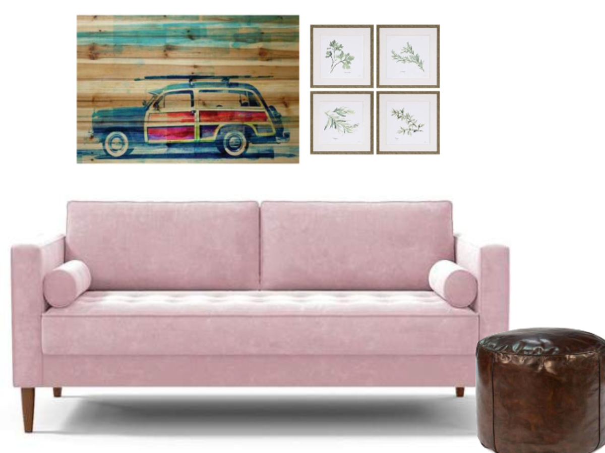 This picture hanging idea has a nice symmetrical arrangement that works as a backdrop for the sofa. A simple and eye-catching layout.