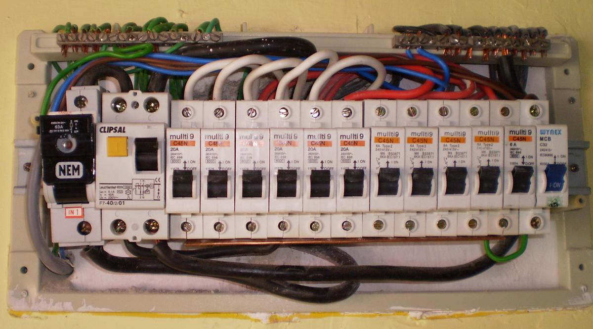 Components of a house electrical panel.