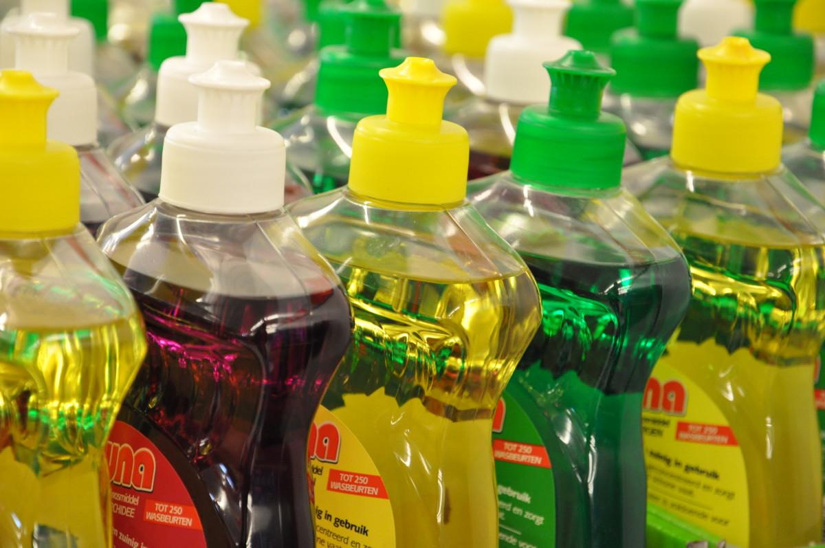 Plastic bottles of dishwashing liquid.