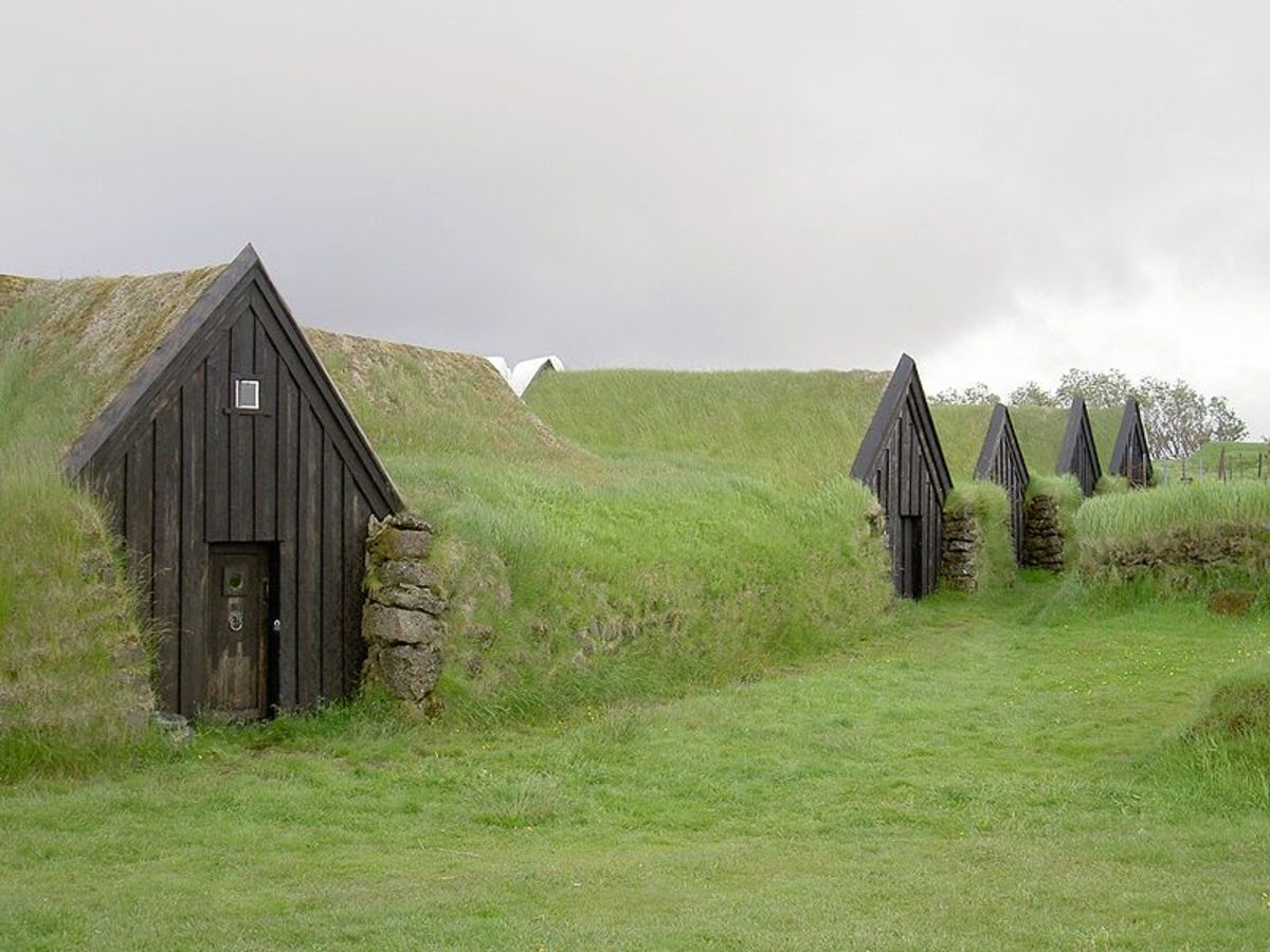 Earth-sheltered home in Iceland.
