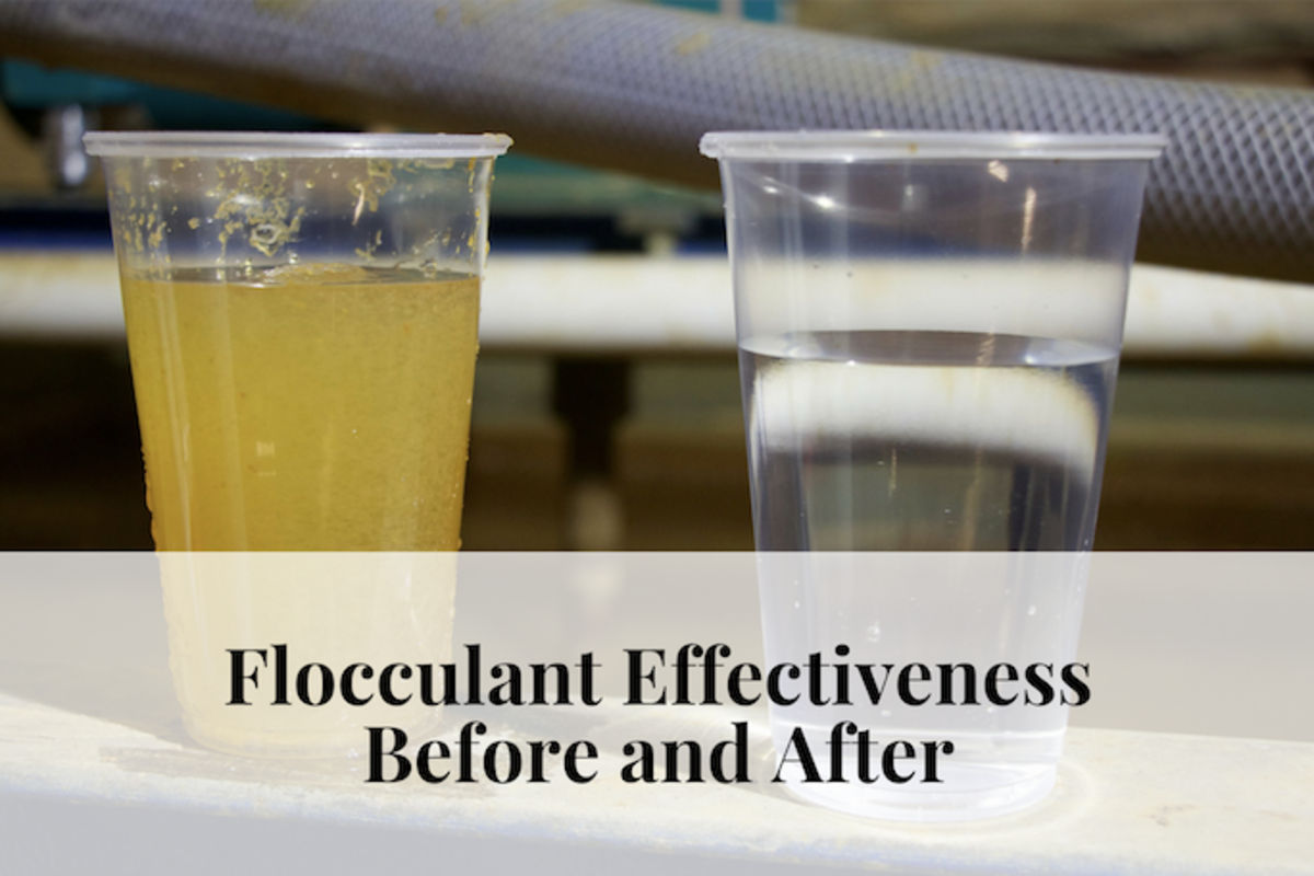 Flocculants clump organic matter. The heavier clumps sink to the bottom, cleaning the water.