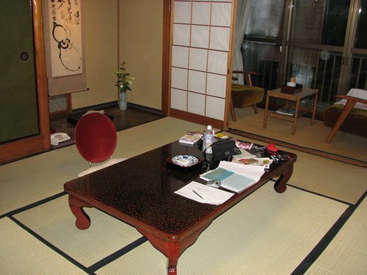 Japanese Hotel (Ryoka) Room With Shikibuton Stored Away and Tatami Mats on the Floor...The Futon Is Unrolled and Used at Night.  Photo courtesy of ThisParticularGreg under Creative Commons Attribution License http://www.flickr.com/photos/thisparticul