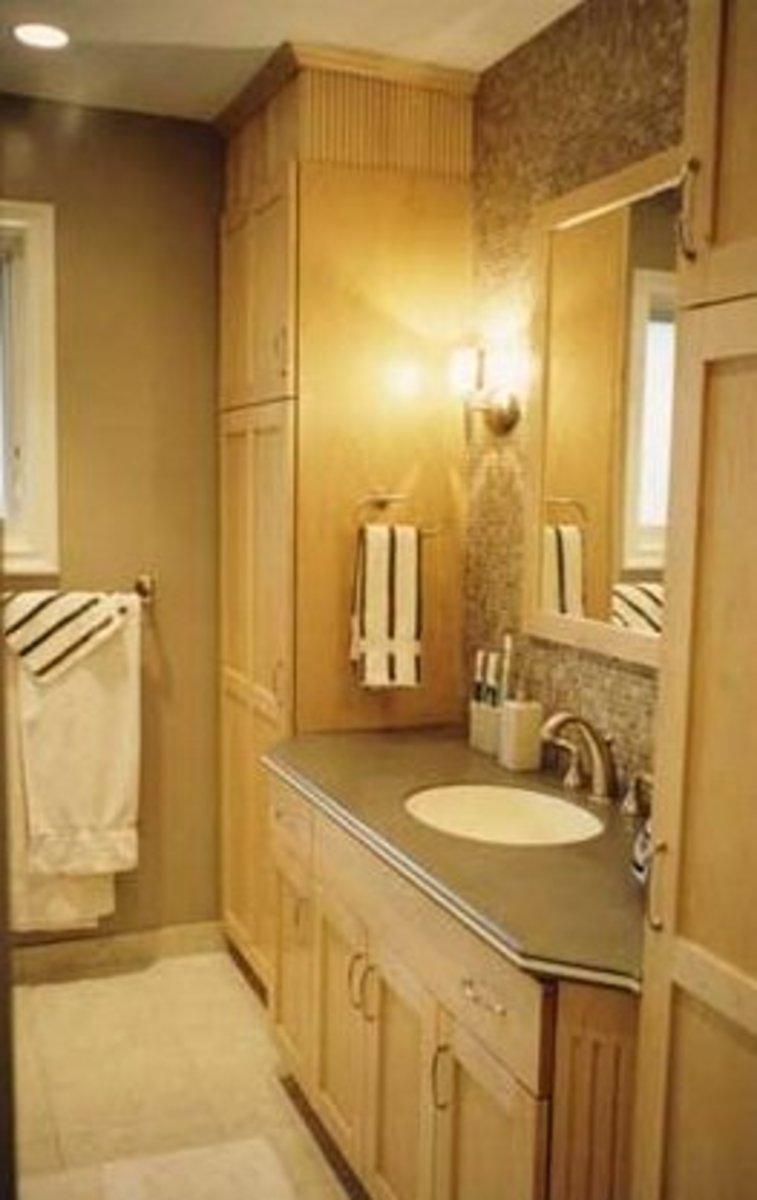 "A bathroom with ""warm"" lighting."
