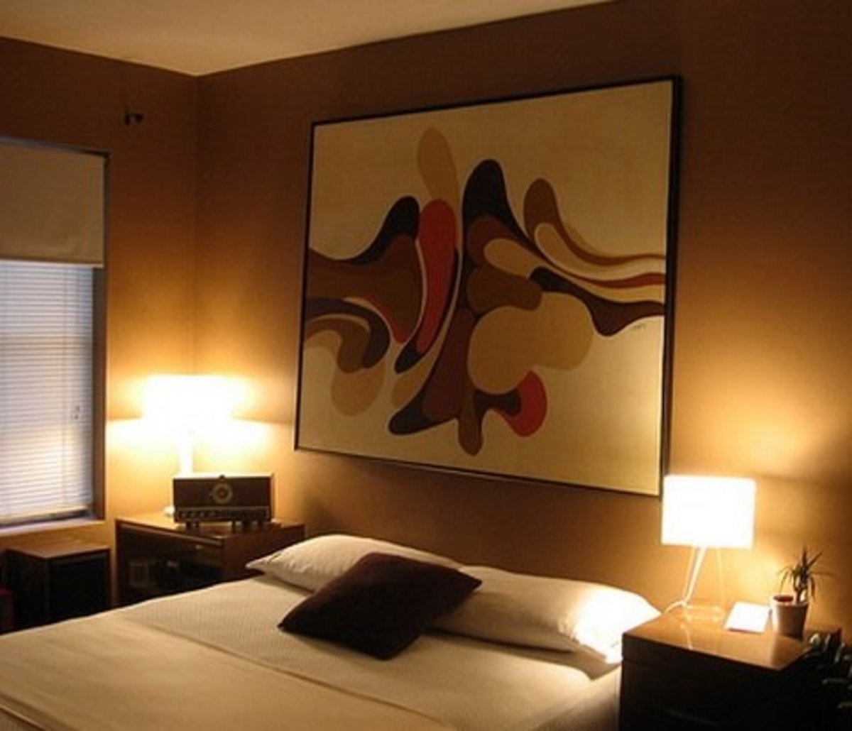 Pleasant bedroom lighting.  Like the home office, bedrooms do not need torrents of light.