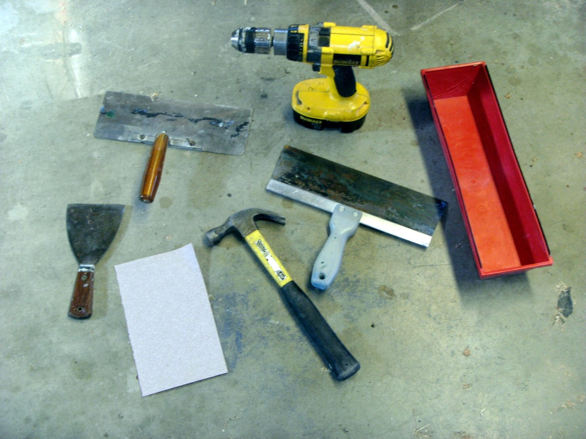 Common tools for drywall work.
