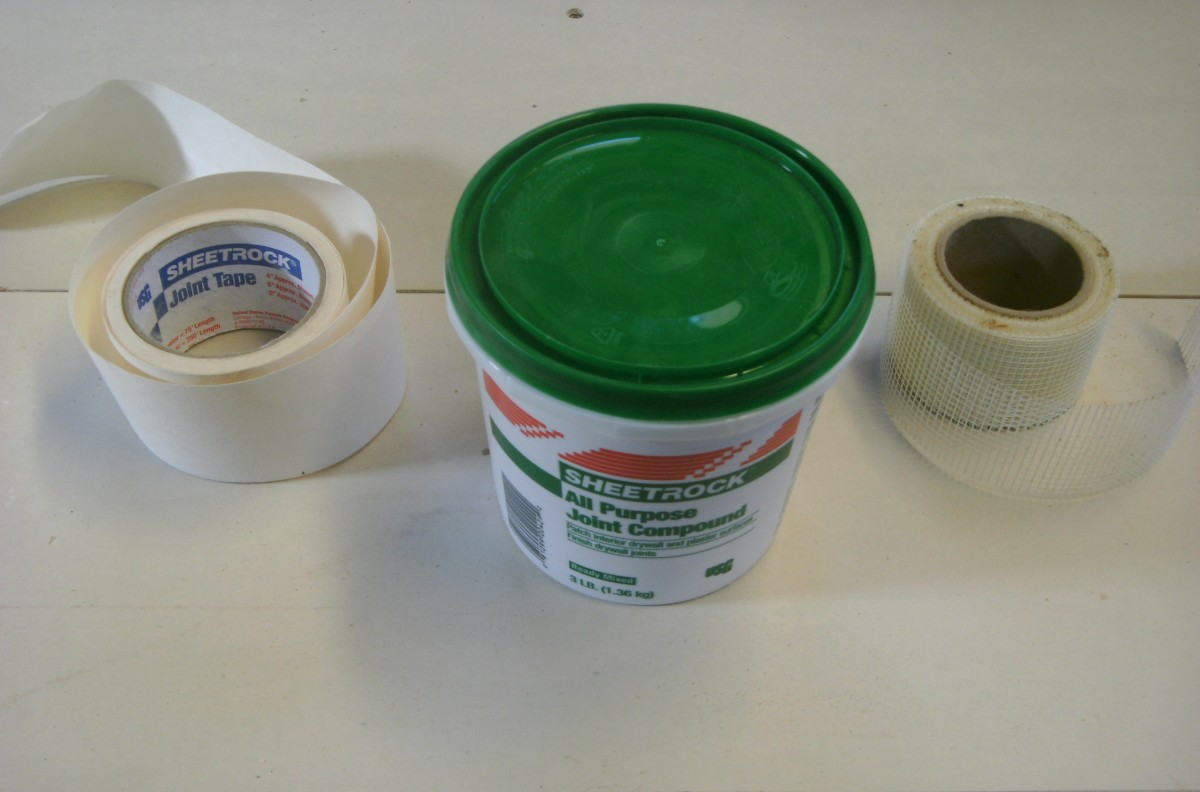 An all purpose drywall mud, along with two common types of drywall tape