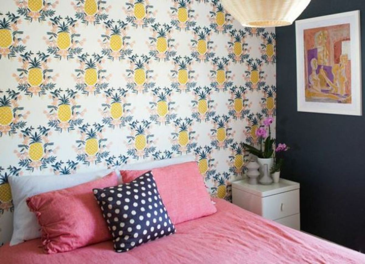 Accent one wall with wallpaper to save money and create drama.
