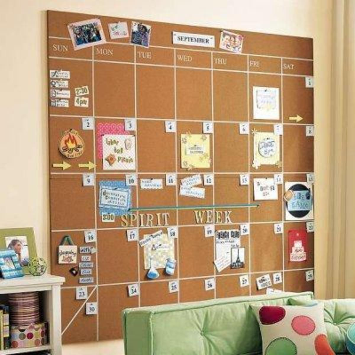 Cool idea for a large cork board on wall.
