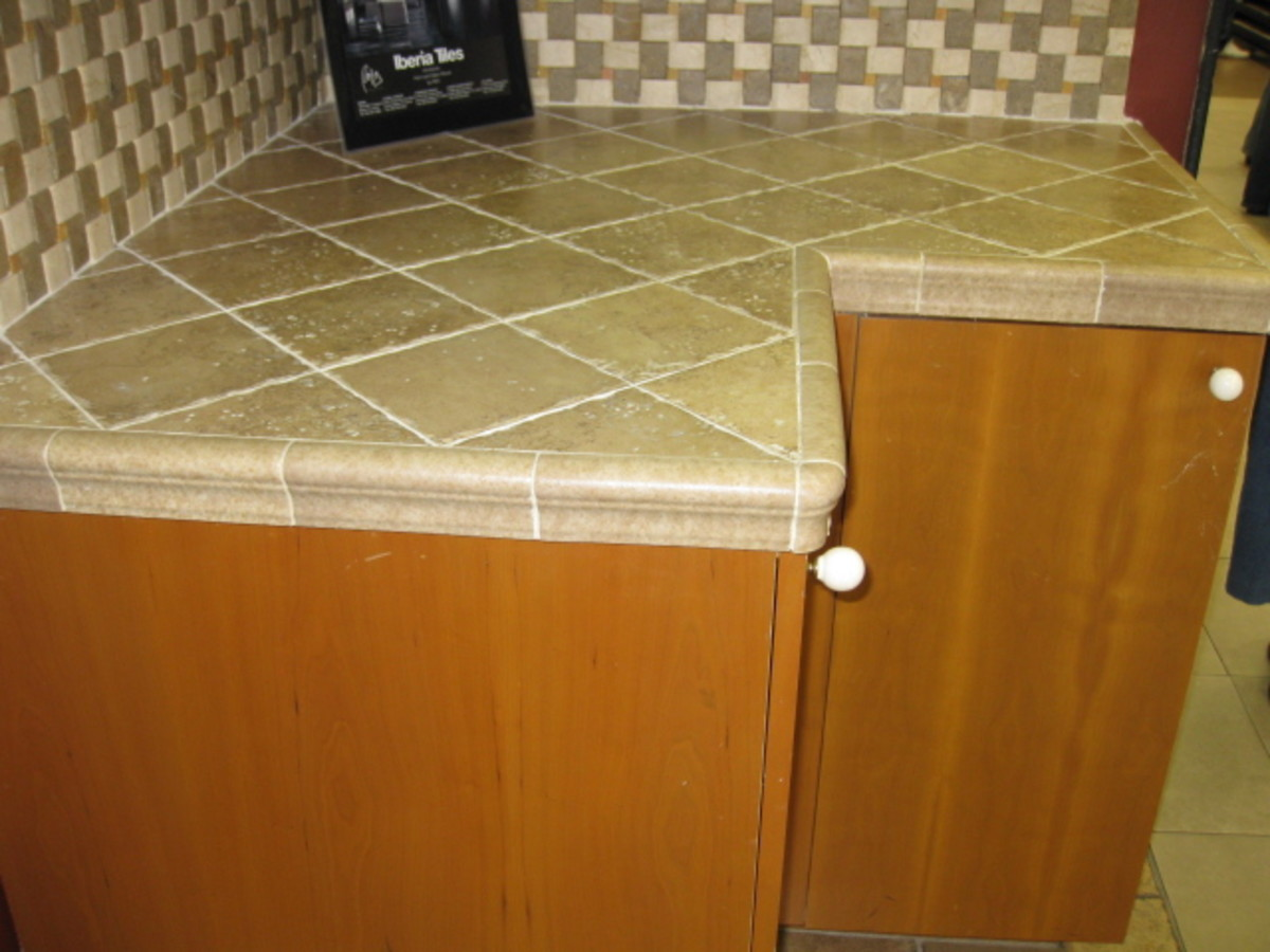 Countertop Edge Options For Tile : diagonally-laid tile with