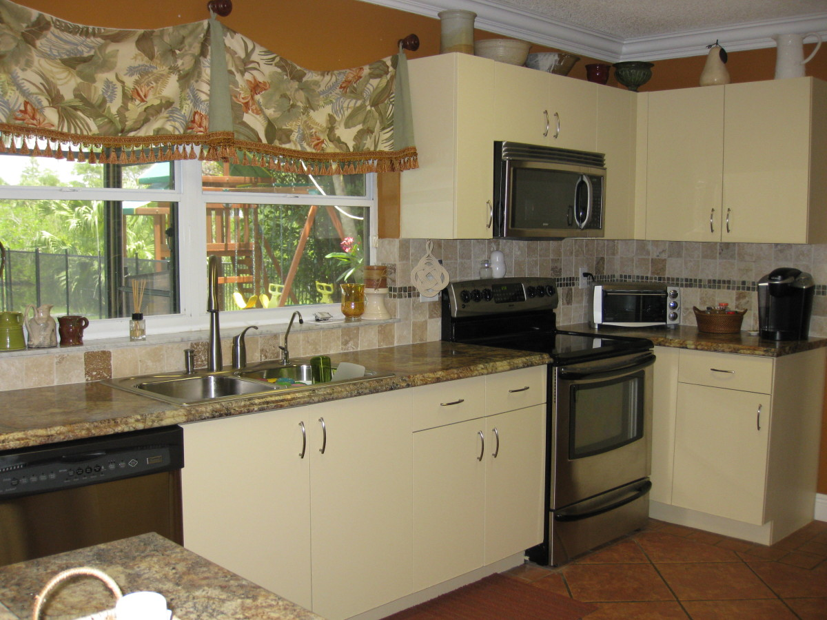 With Laminate Kitchen Countertops Refinished Kitchen Cabinets Cheap