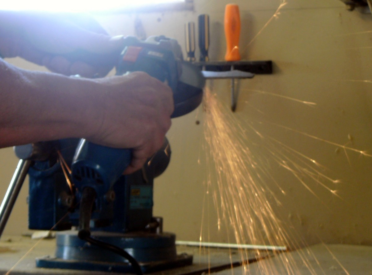 """Using a peanut, or """"angle"""" grinder"""