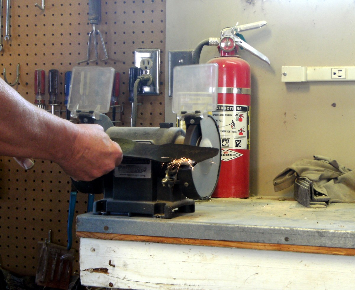 Touching up with a bench grinder