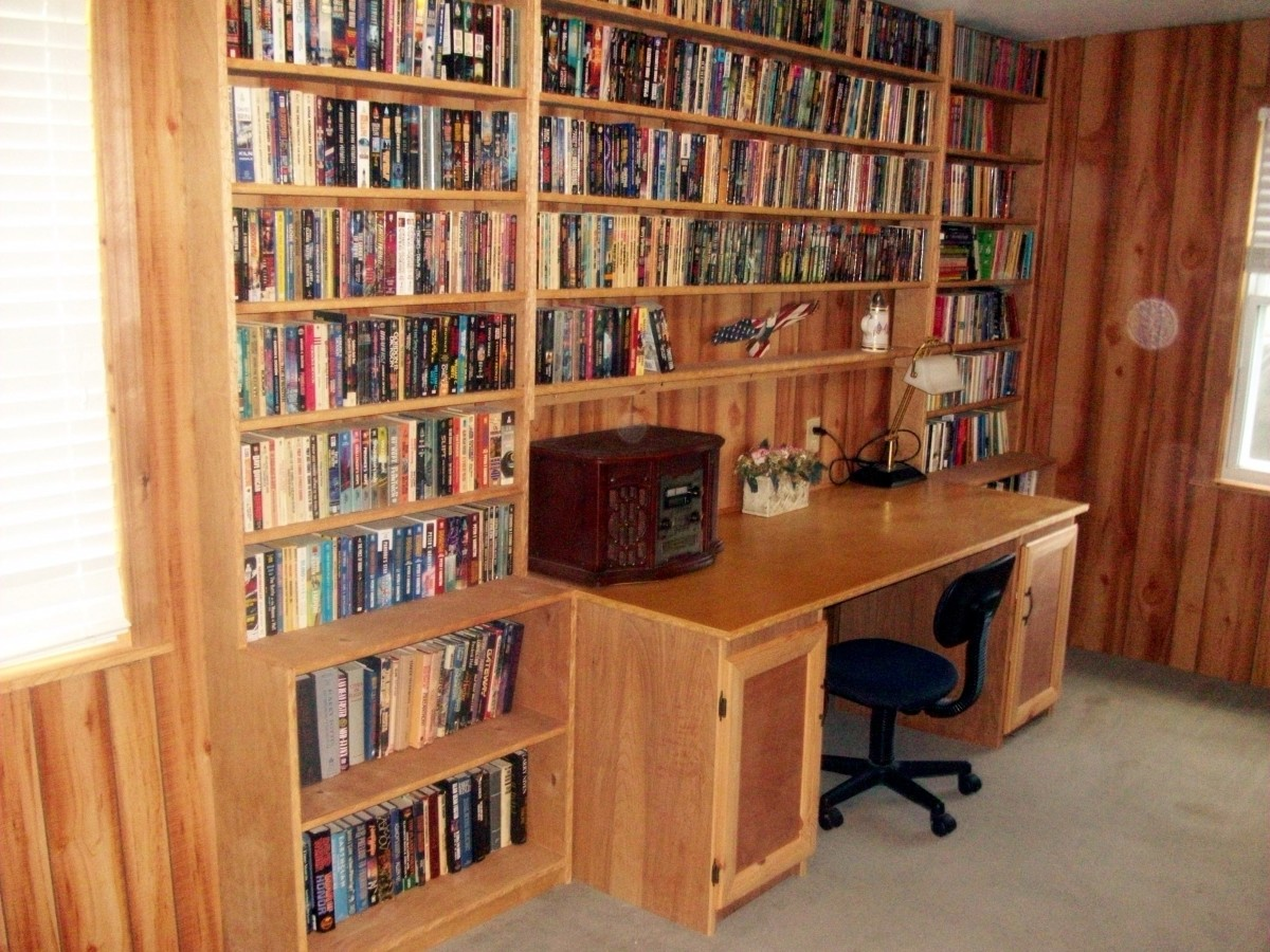 Sewing center and bookshelves
