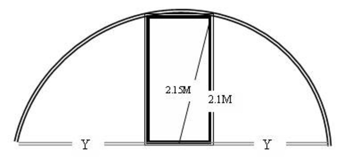 Base Width of the Greenhouse - Determine where the door frame will support the PVC pipe arc.