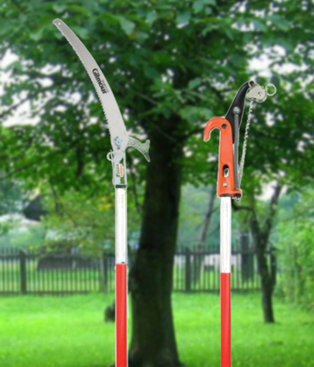 The Gilmour pruning saw's rigid pole has great reach. A pruning head can be purchased for extra.