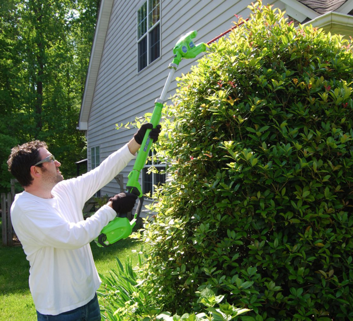 The GreenWorks cordless can tackle tall hedges.
