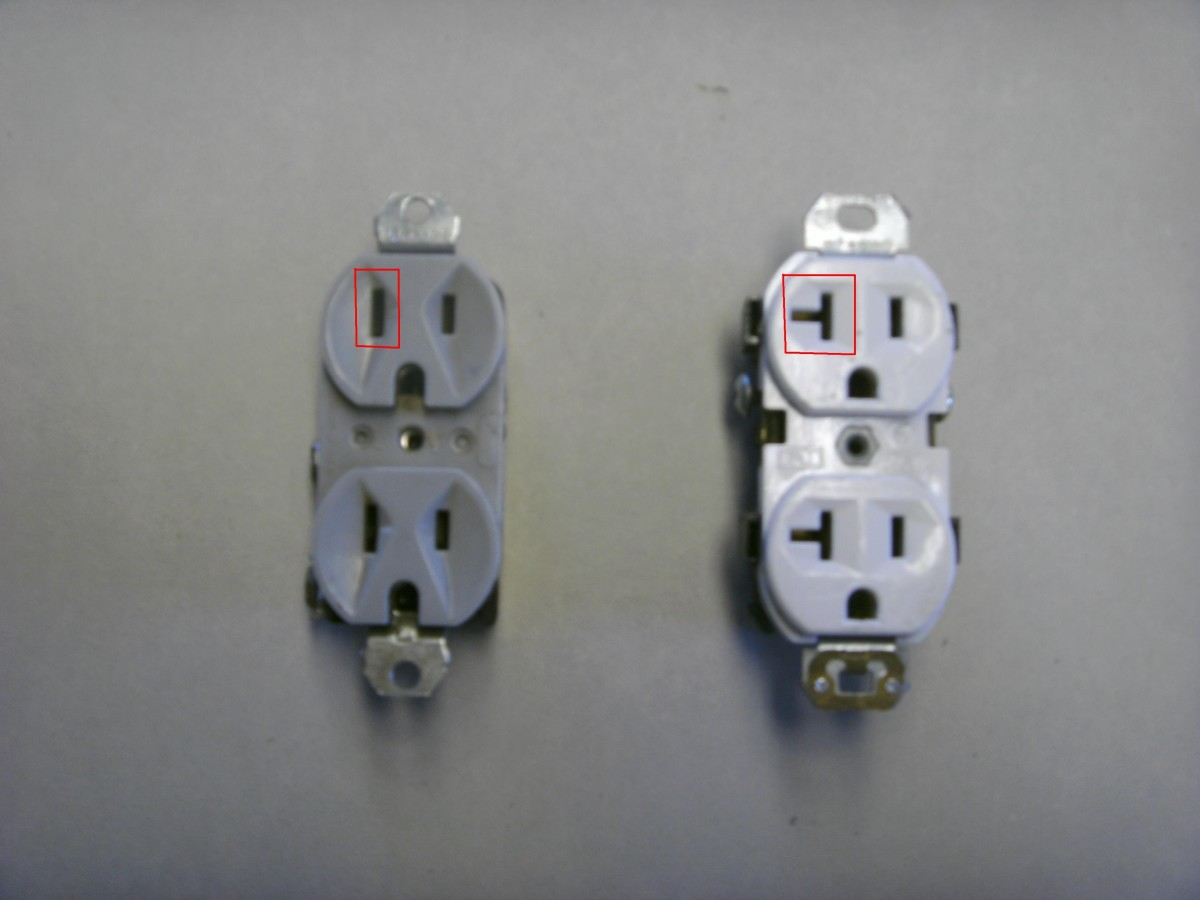 15 amp (gray) and 20 amp (white) outlets.  Note the difference circled in red.