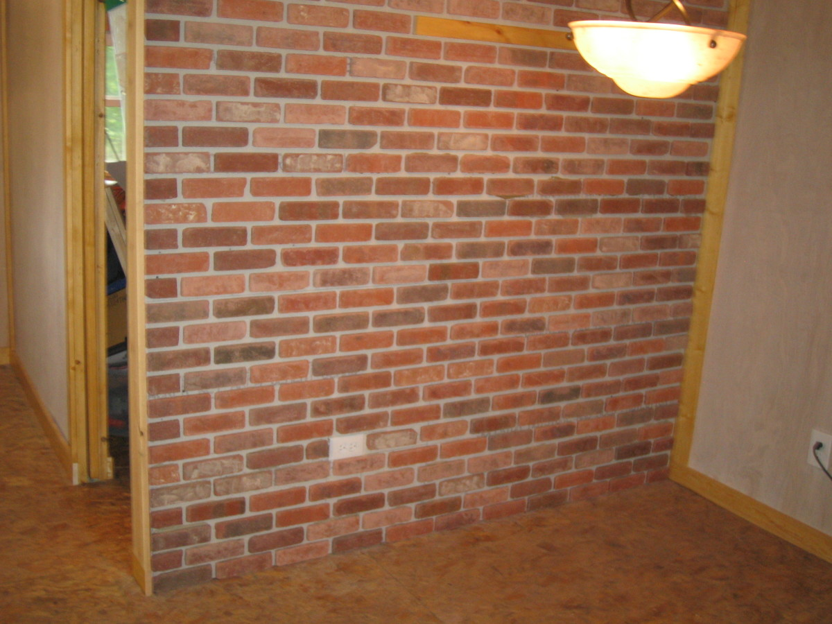 Brick veneer before mortaring.
