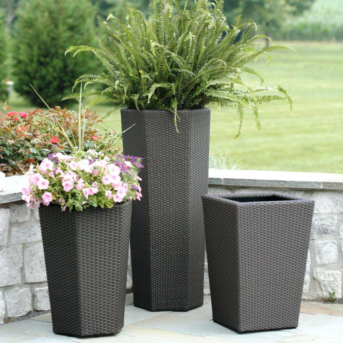 Garden planters come in all types of materials.