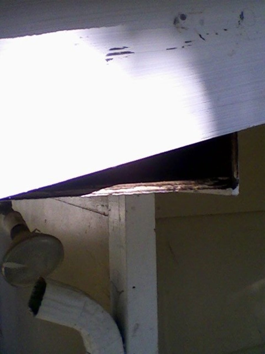 Replacement fascia board nailed in place.  Damage to paint will be covered with a finish coat applied in place.