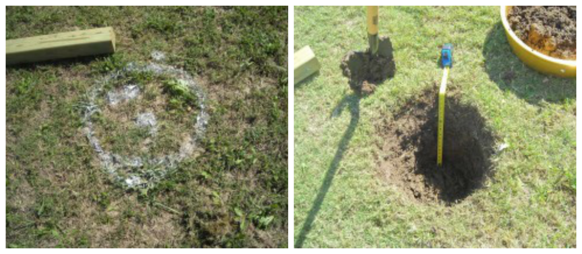 Post hole position (on left) and completed post hole (on right)