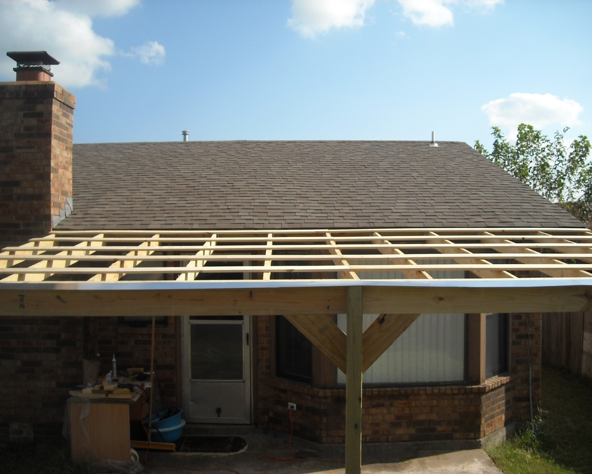 How to build a patio cover with a corrugated metal roof dengarden step 7 finish the job ccuart Images