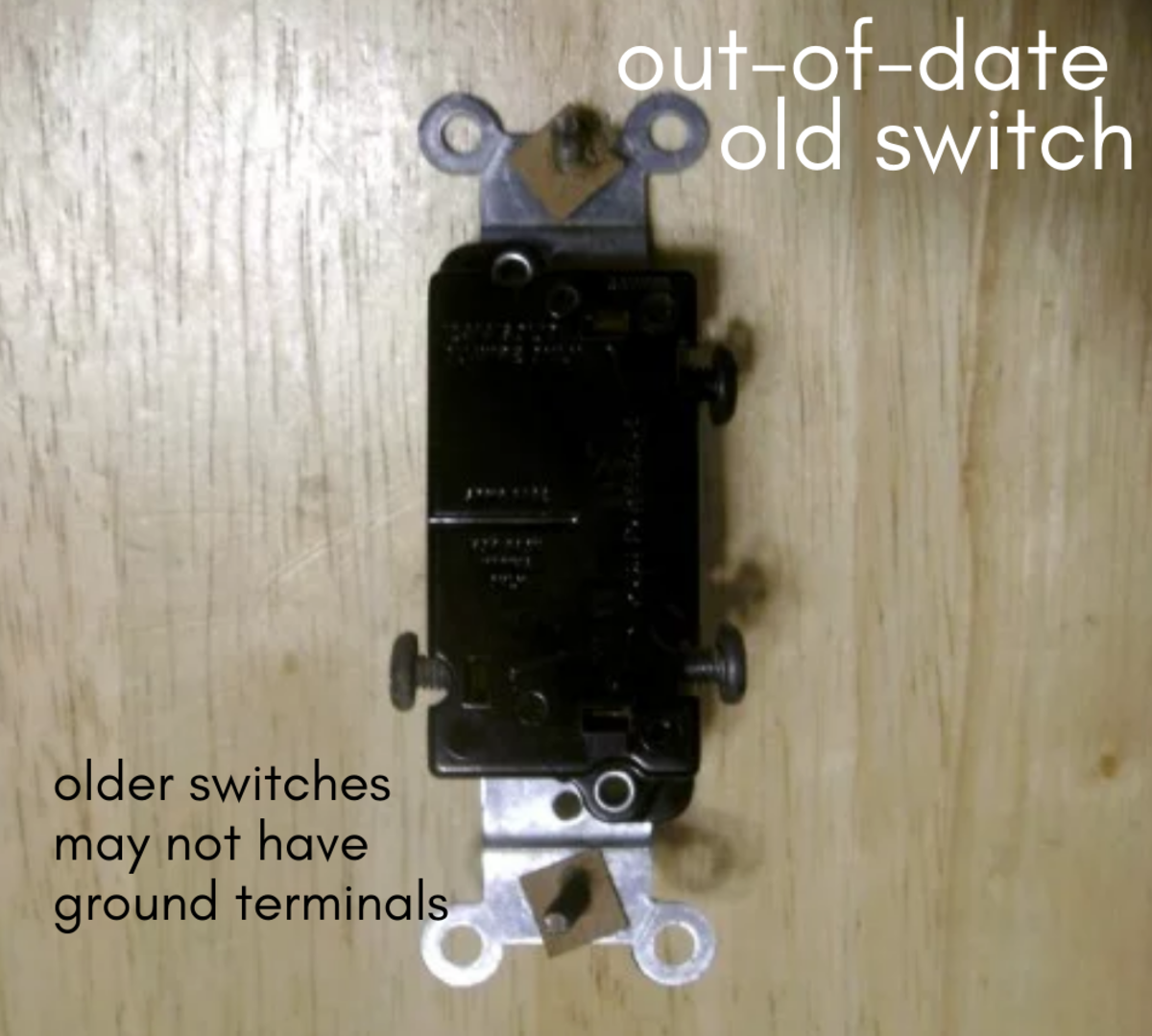 An old switch. This switch has no ground terminal/screw and is no longer legal to use.  Make sure your switch has a ground terminal.