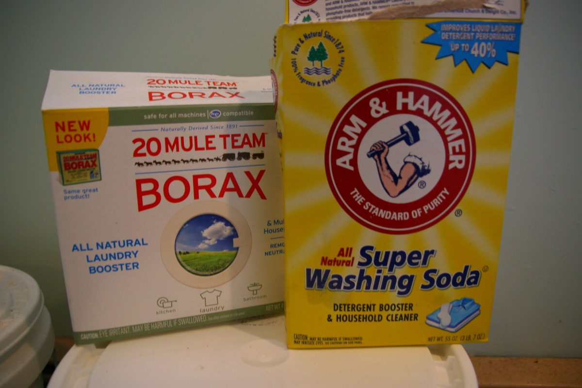 Use borax and washing soda in the laundry detergent. Baking soda will be slightly less effective in cleaning, but it will be safer for sensitive skin.