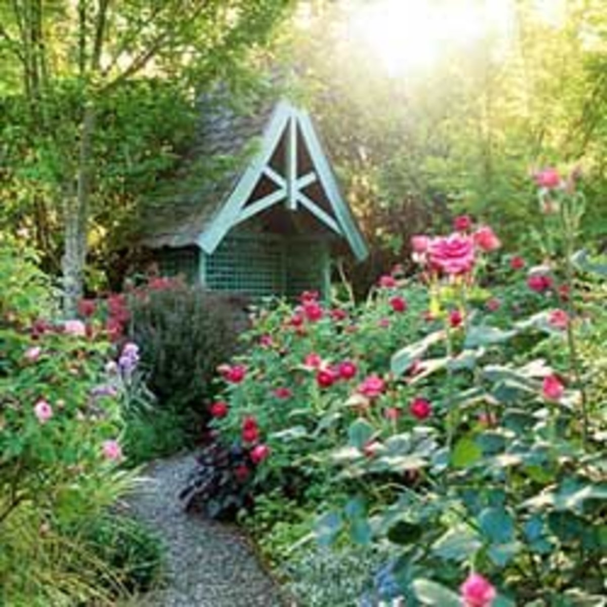 teal aqua potting shed with lush gardens and roses