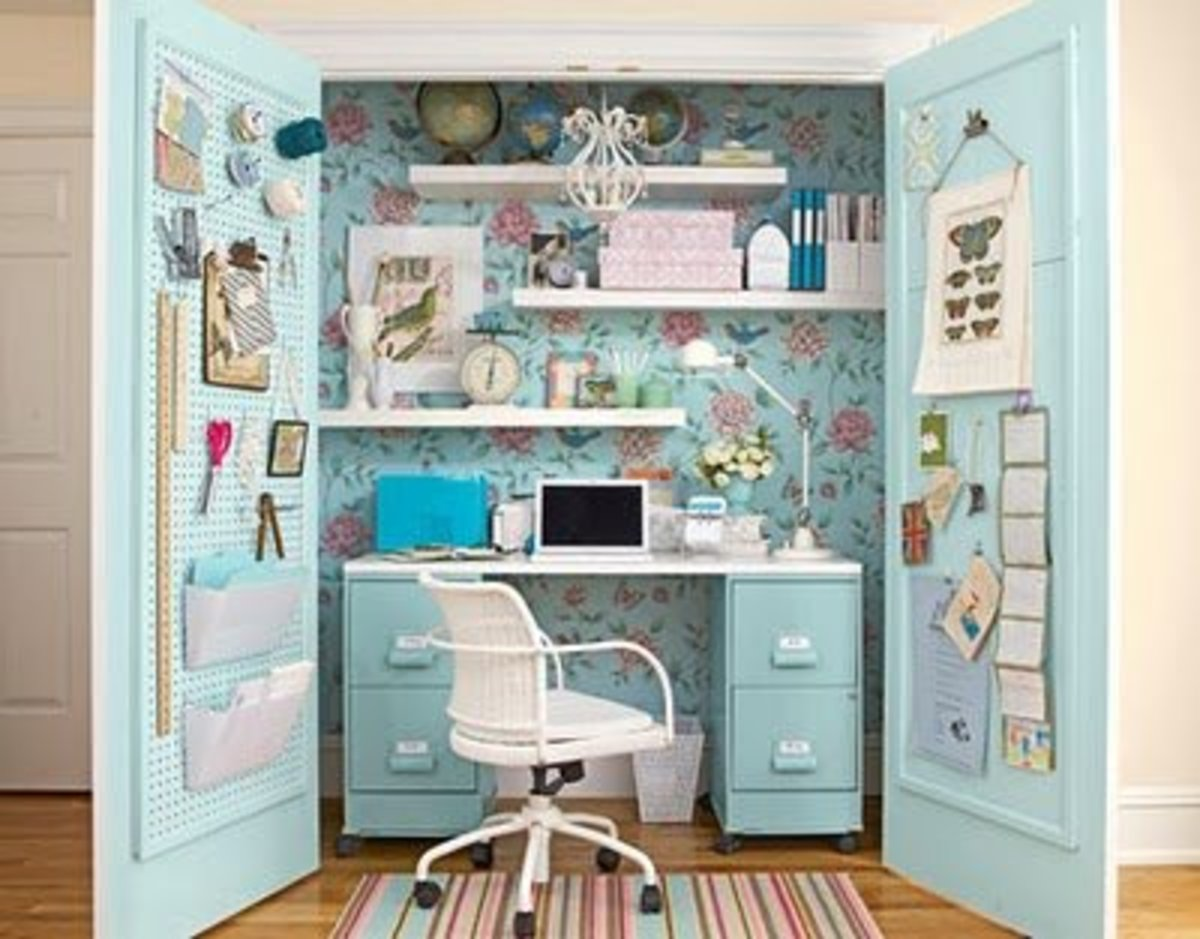 An Office in a Closet - but of Course In Turquoise Blue