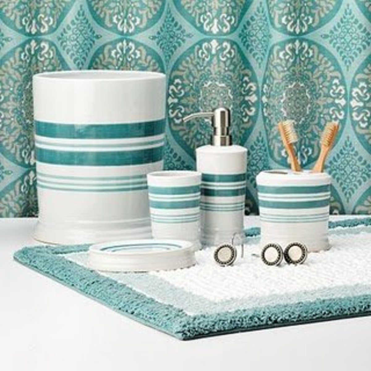 Aqua teal and turquoise home remodeling ideas dengarden for Turquoise blue bathroom accessories
