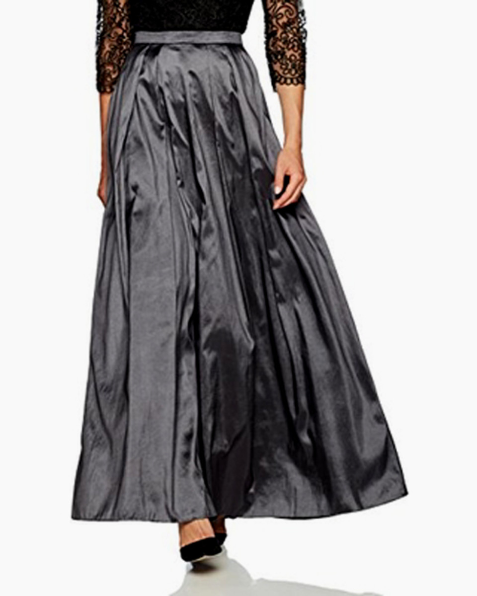 This gray taffeta skirt has a polished sheen that dupioni doesn't possess.