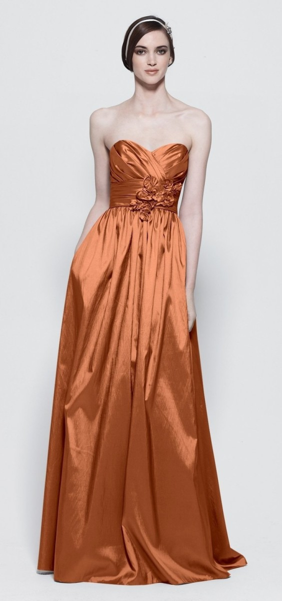 Although this taffeta gown shows a few wrinkles, it still looks fabulous.