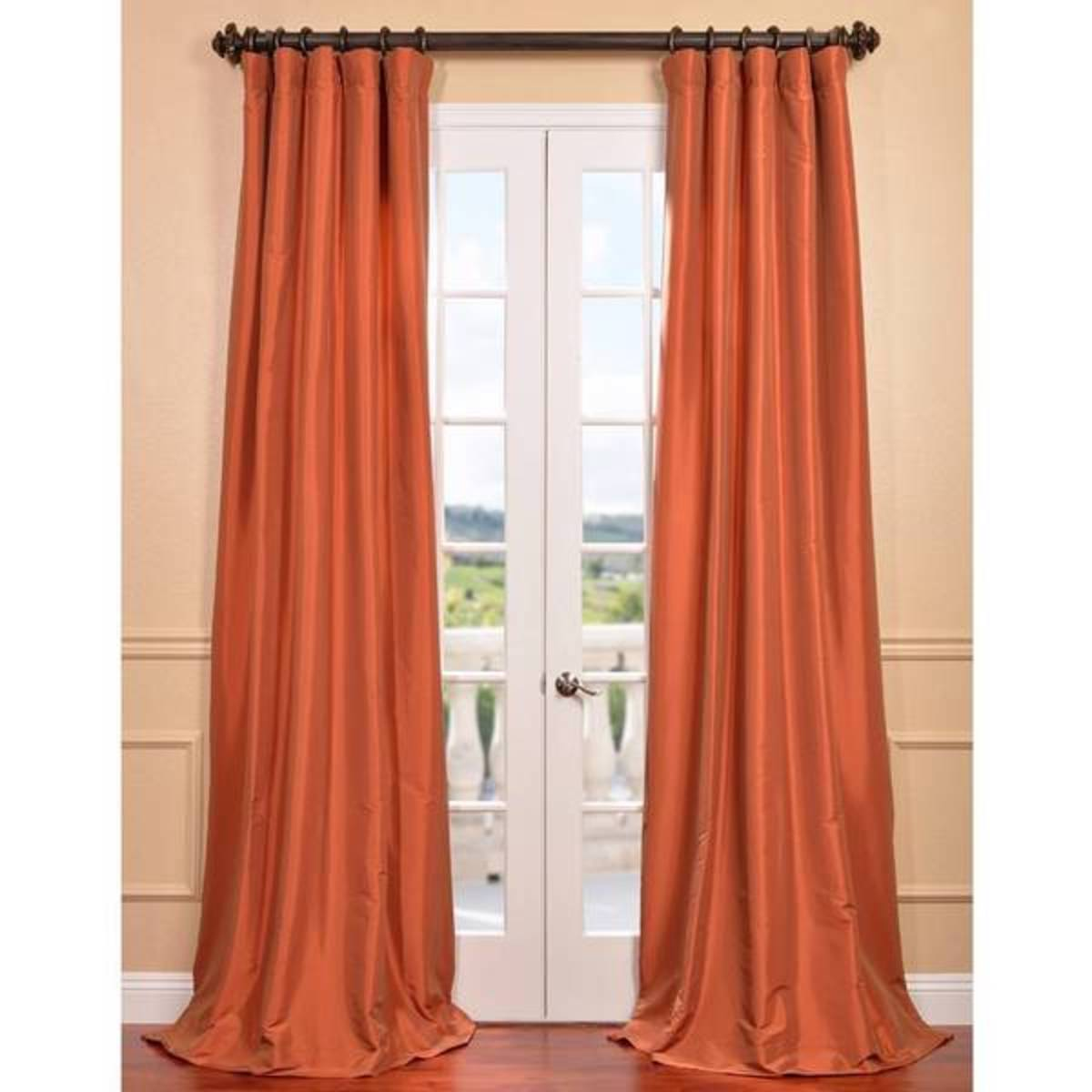 These dupioni curtains are more wrinkle resistant than taffeta.