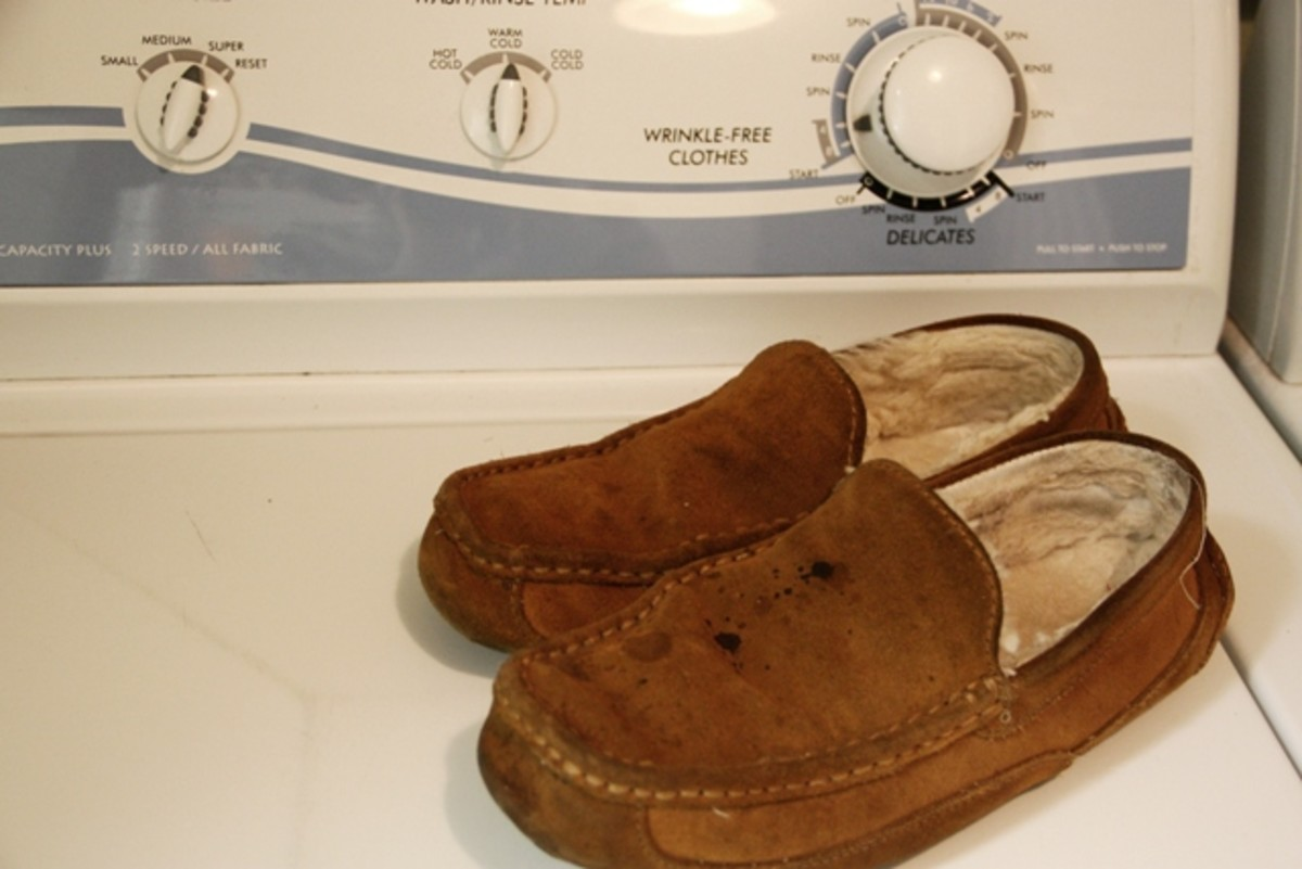 You'll ruin your suede slippers if you toss them into the washing machine.