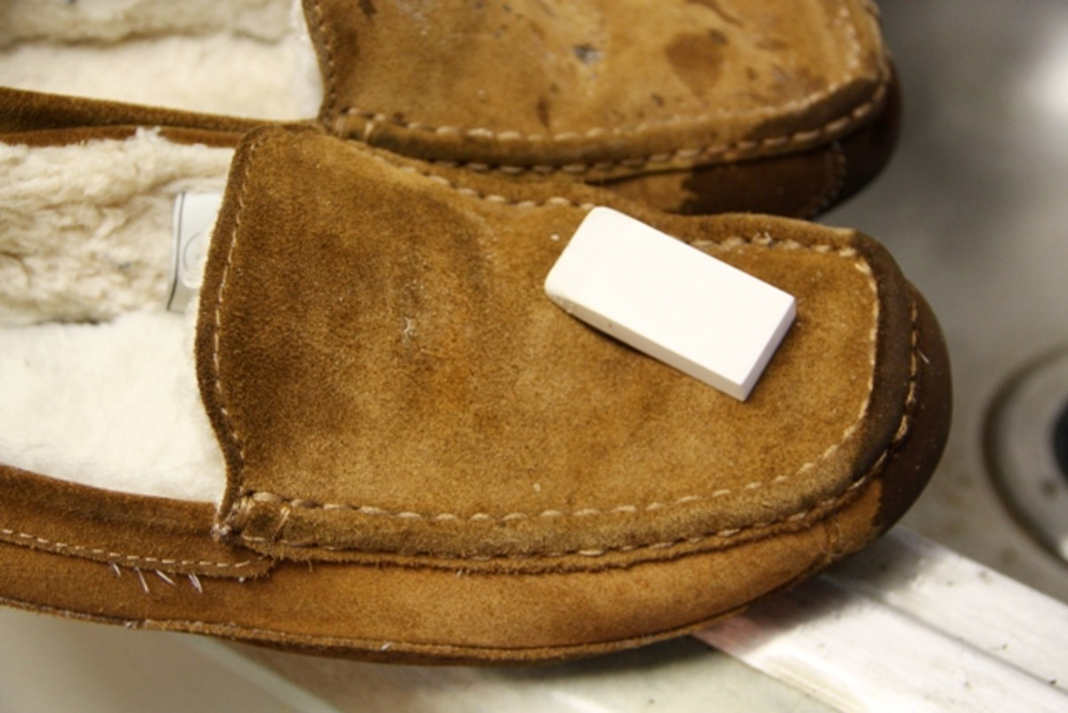 Oddly enough, an eraser works very well to clean suede slippers.