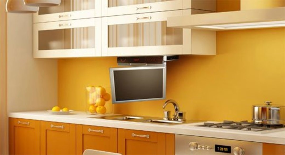 This TV is the right height for standing at the counter or stove.