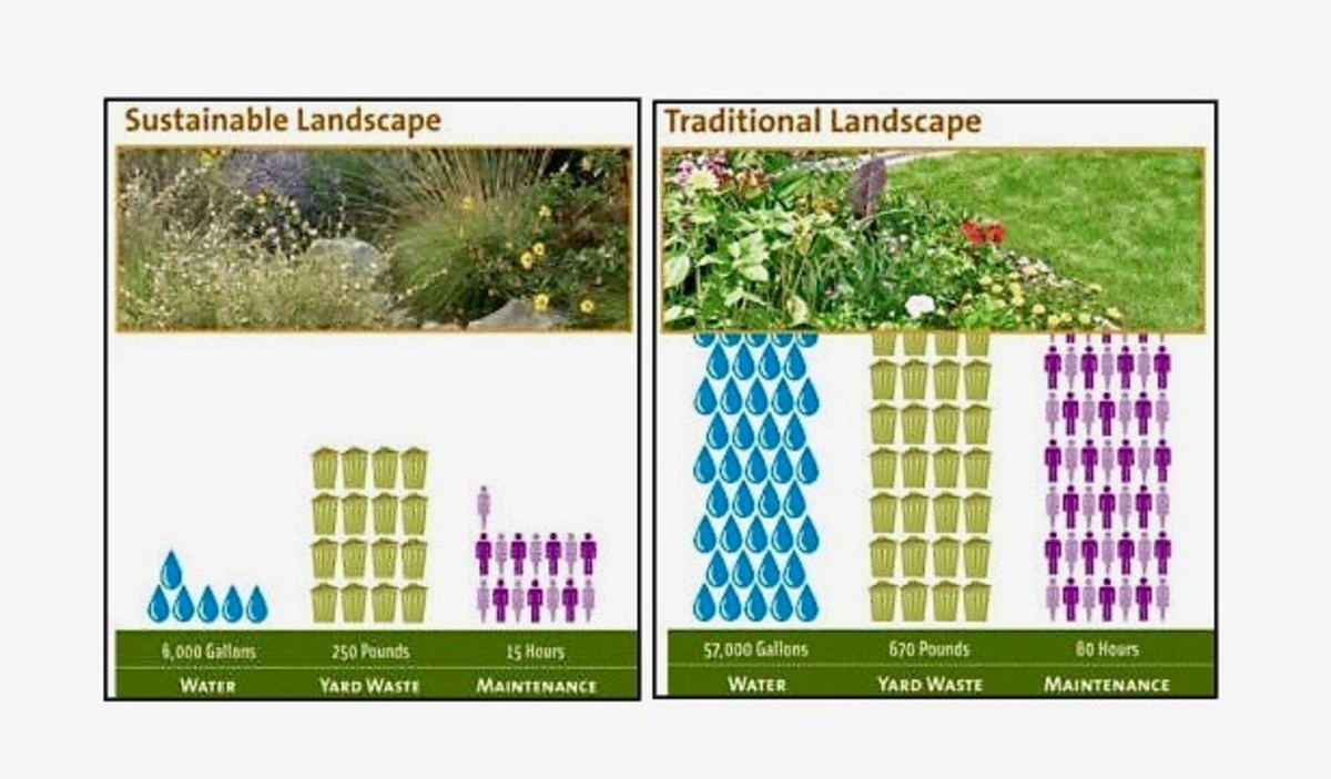 These charts show the comparison of the native and traditional gardens' use of water, production of green waste, and maintenance requirements.