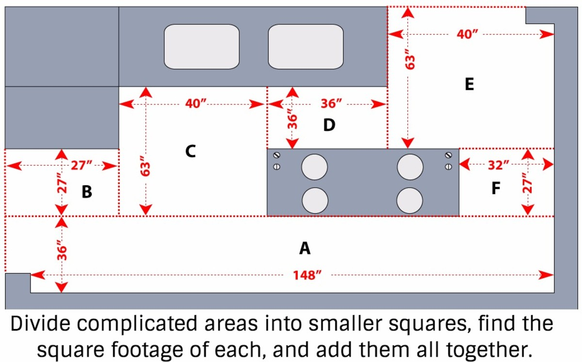 To find the square footage of area A, first convert inches to feet: 146 divided by 12 = 12.33 and 36 divided by 12 = 3, so the square footage of A is 36.99 (width x height in feet).