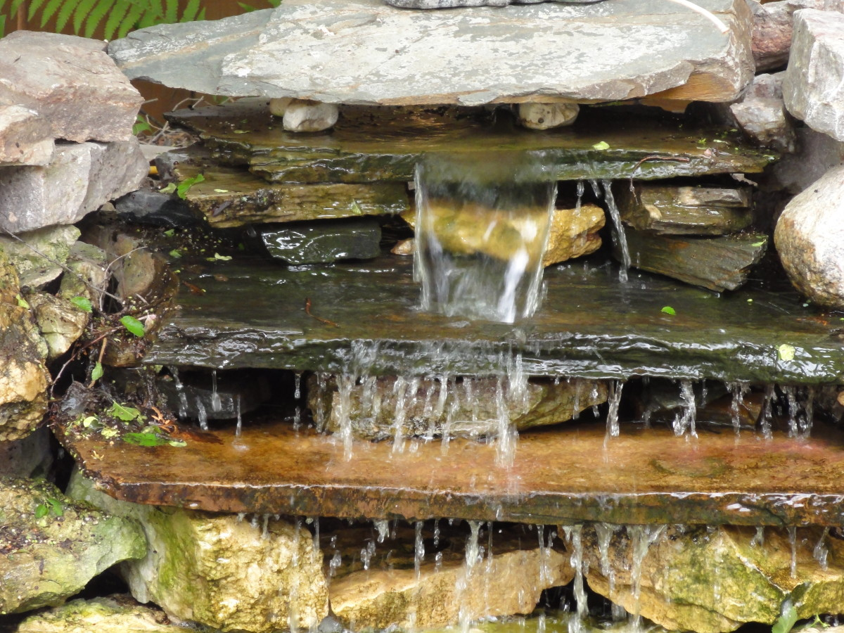 The large slabs of slate make a wonderful waterfall.